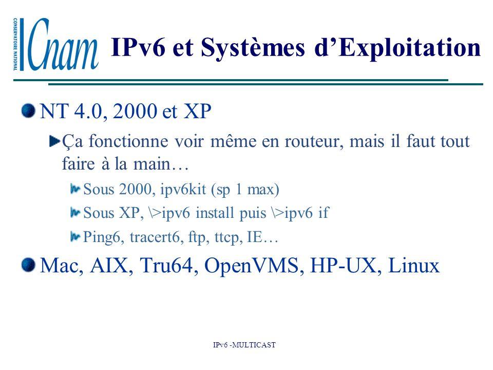 IPv6 -MULTICAST IPv6 et Systèmes d'Exploitation NT 4.0, 2000 et XP Ça fonctionne voir même en routeur, mais il faut tout faire à la main… Sous 2000, ipv6kit (sp 1 max) Sous XP, \>ipv6 install puis \>ipv6 if Ping6, tracert6, ftp, ttcp, IE… Mac, AIX, Tru64, OpenVMS, HP-UX, Linux
