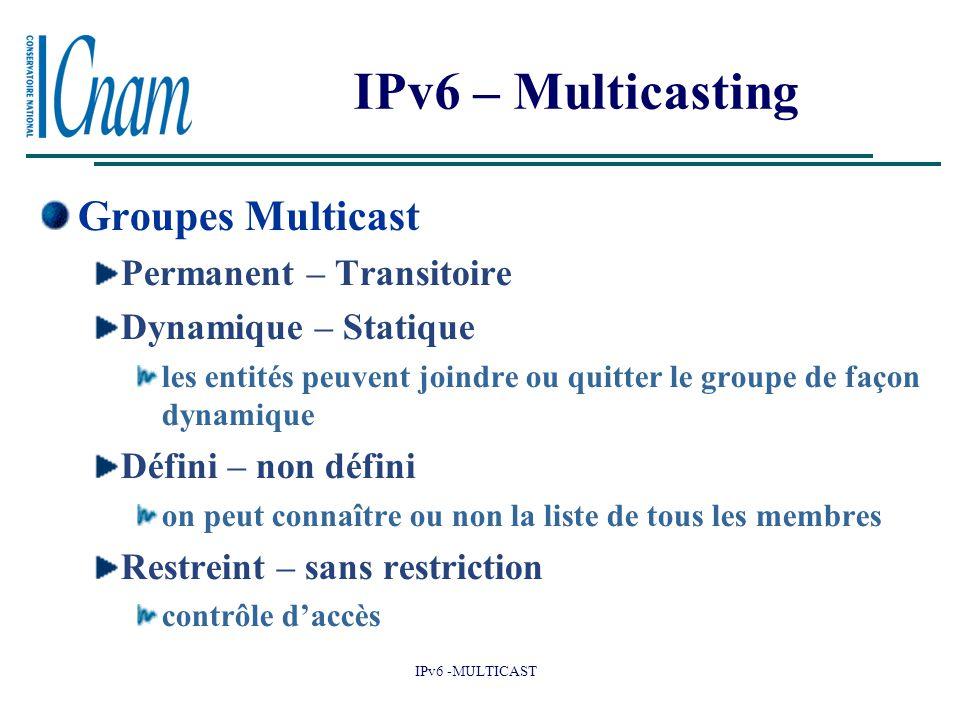 IPv6 -MULTICAST IPv6 – Multicasting Groupes Multicast Permanent – Transitoire Dynamique – Statique les entités peuvent joindre ou quitter le groupe de