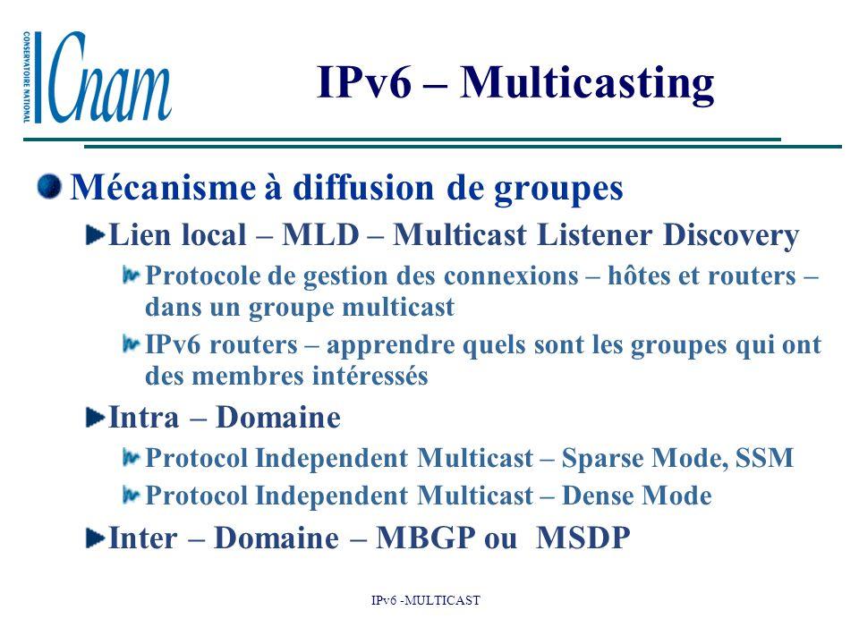 IPv6 -MULTICAST IPv6 – Multicasting Mécanisme à diffusion de groupes Lien local – MLD – Multicast Listener Discovery Protocole de gestion des connexions – hôtes et routers – dans un groupe multicast IPv6 routers – apprendre quels sont les groupes qui ont des membres intéressés Intra – Domaine Protocol Independent Multicast – Sparse Mode, SSM Protocol Independent Multicast – Dense Mode Inter – Domaine – MBGP ou MSDP