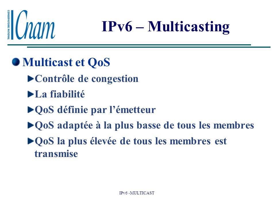 IPv6 -MULTICAST IPv6 – Multicasting Multicast et QoS Contrôle de congestion La fiabilité QoS définie par l'émetteur QoS adaptée à la plus basse de tous les membres QoS la plus élevée de tous les membres est transmise