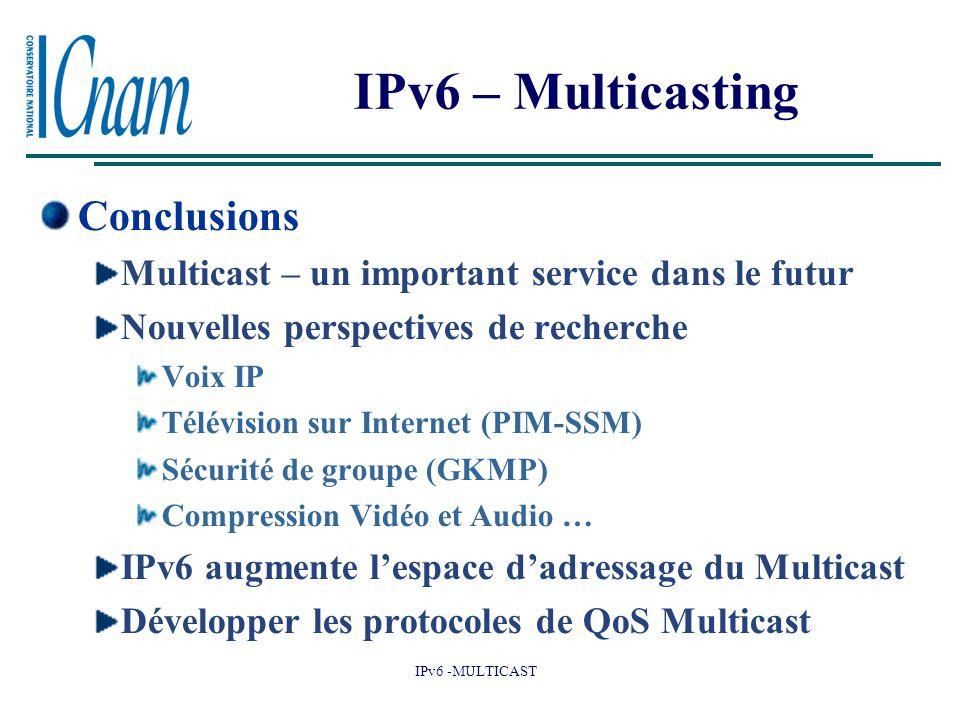 IPv6 -MULTICAST IPv6 – Multicasting Conclusions Multicast – un important service dans le futur Nouvelles perspectives de recherche Voix IP Télévision sur Internet (PIM-SSM) Sécurité de groupe (GKMP) Compression Vidéo et Audio … IPv6 augmente l'espace d'adressage du Multicast Développer les protocoles de QoS Multicast