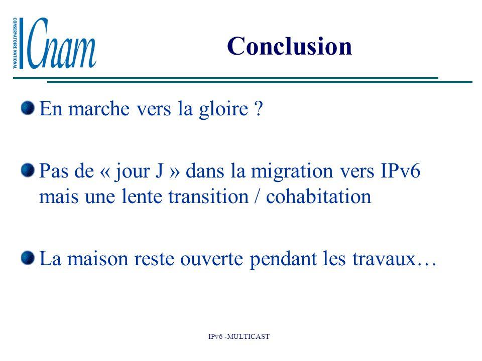 IPv6 -MULTICAST Conclusion En marche vers la gloire ? Pas de « jour J » dans la migration vers IPv6 mais une lente transition / cohabitation La maison