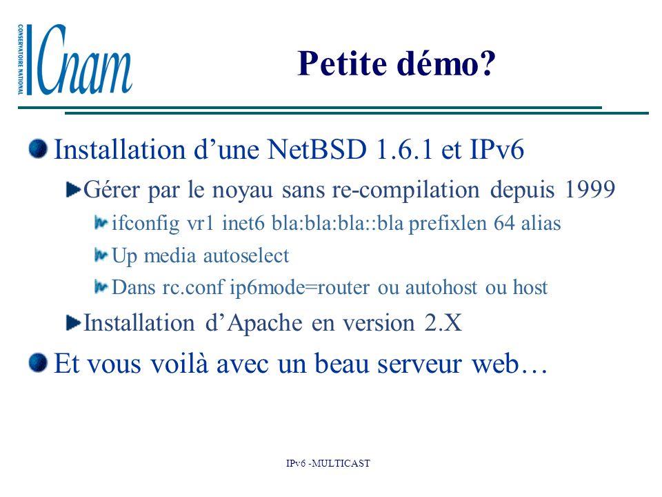 IPv6 -MULTICAST Petite démo? Installation d'une NetBSD 1.6.1 et IPv6 Gérer par le noyau sans re-compilation depuis 1999 ifconfig vr1 inet6 bla:bla:bla