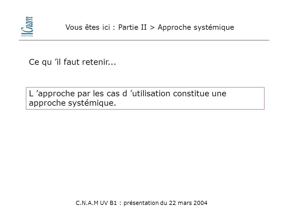 Vous êtes ici : Partie II > Approche systémique L 'approche par les cas d 'utilisation constitue une approche systémique. C.N.A.M UV B1 : présentation