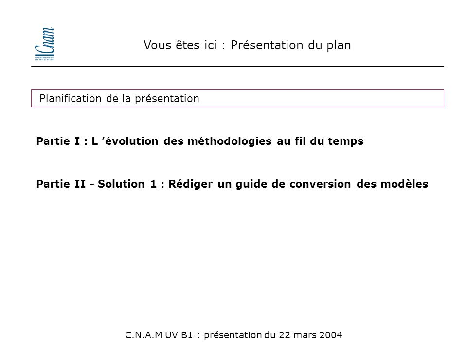 Vous êtes ici : Présentation du plan C.N.A.M UV B1 : présentation du 22 mars 2004 Planification de la présentation Partie I : L 'évolution des méthodologies au fil du temps Partie II - Solution 1 : Rédiger un guide de conversion des modèles Partie III - Solution 2 : Mener un projet pilote