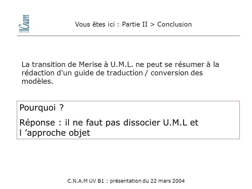 Vous êtes ici : Partie II > Conclusion C.N.A.M UV B1 : présentation du 22 mars 2004 La transition de Merise à U.M.L. ne peut se résumer à la rédaction