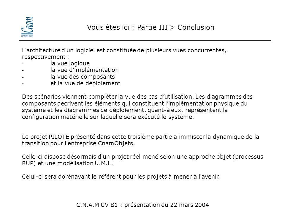Vous êtes ici : Partie III > Conclusion C.N.A.M UV B1 : présentation du 22 mars 2004 L'architecture d'un logiciel est constituée de plusieurs vues con