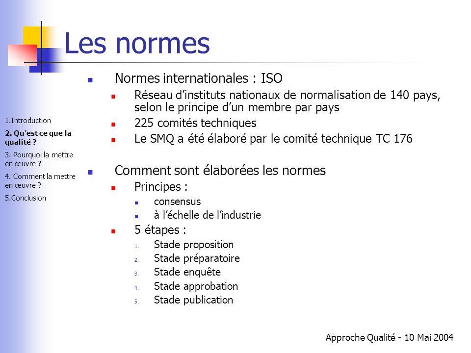 Approche Qualité - 10 Mai 2004 Les normes Normes internationales : ISO Réseau d'instituts nationaux de normalisation de 140 pays, selon le principe d'