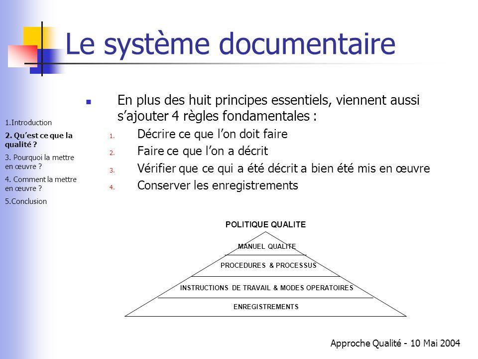 Approche Qualité - 10 Mai 2004 Le système documentaire En plus des huit principes essentiels, viennent aussi s'ajouter 4 règles fondamentales : 1. Déc
