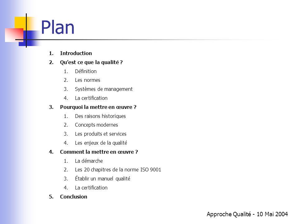 Approche Qualité - 10 Mai 2004 Plan 1.Introduction 2.Qu'est ce que la qualité ? 1.Définition 2.Les normes 3.Systèmes de management 4.La certification
