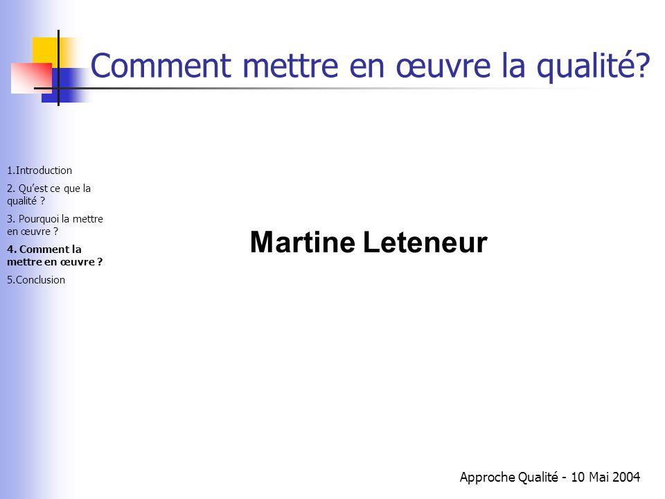Approche Qualité - 10 Mai 2004 Comment mettre en œuvre la qualité? Martine Leteneur 1.Introduction 2. Qu'est ce que la qualité ? 3. Pourquoi la mettre