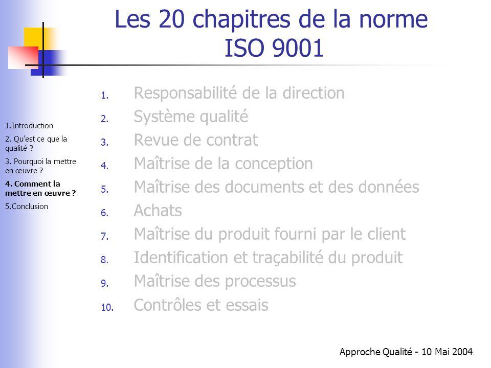 Approche Qualité - 10 Mai 2004 Les 20 chapitres de la norme ISO 9001 1. Responsabilité de la direction 2. Système qualité 3. Revue de contrat 4. Maîtr