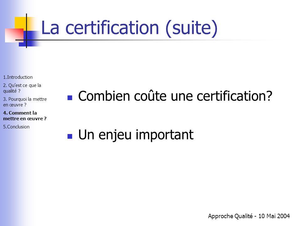 Approche Qualité - 10 Mai 2004 La certification (suite) Combien coûte une certification? Un enjeu important 1.Introduction 2. Qu'est ce que la qualité