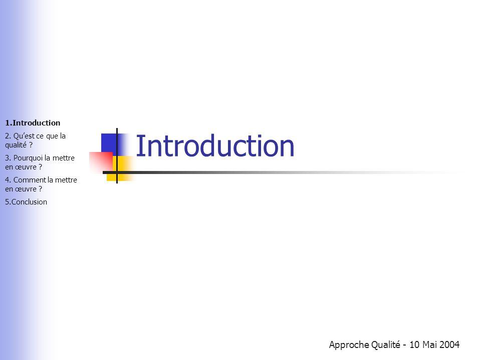 Approche Qualité - 10 Mai 2004 Introduction 1.Introduction 2. Qu'est ce que la qualité ? 3. Pourquoi la mettre en œuvre ? 4. Comment la mettre en œuvr