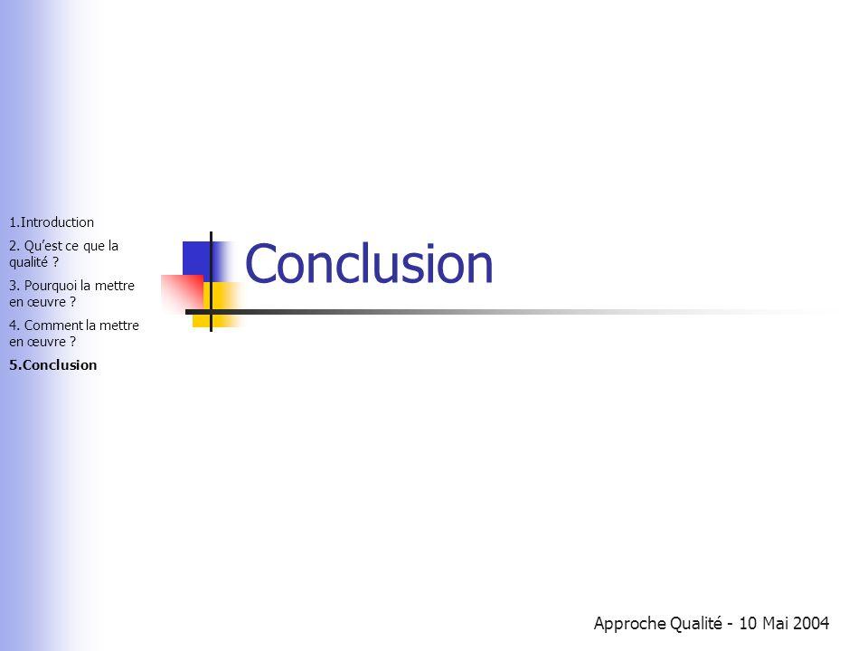Approche Qualité - 10 Mai 2004 Conclusion 1.Introduction 2. Qu'est ce que la qualité ? 3. Pourquoi la mettre en œuvre ? 4. Comment la mettre en œuvre