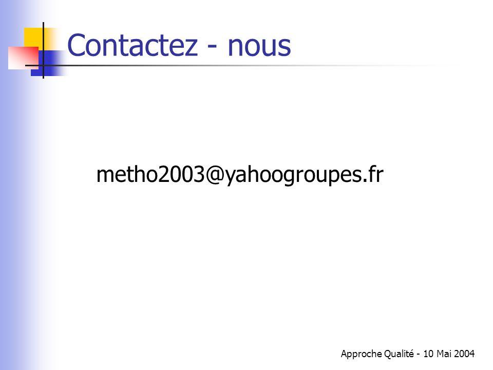 Approche Qualité - 10 Mai 2004 Contactez - nous metho2003@yahoogroupes.fr