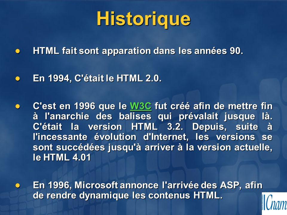 Historique HTML fait sont apparation dans les années 90. HTML fait sont apparation dans les années 90. En 1994, C'était le HTML 2.0. En 1994, C'était