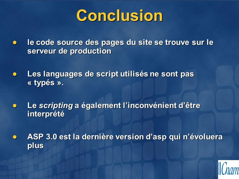 Conclusion le code source des pages du site se trouve sur le serveur de production le code source des pages du site se trouve sur le serveur de produc