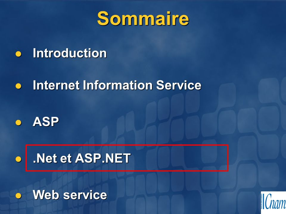 Sommaire Introduction Introduction Internet Information Service Internet Information Service ASP ASP.Net et ASP.NET.Net et ASP.NET Web service Web ser
