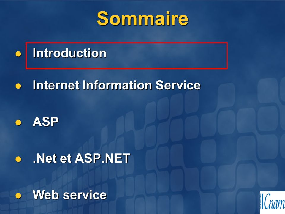 Sommaire Introduction Introduction Internet Information Service Internet Information Service ASP ASP.Net et ASP.NET.Net et ASP.NET Web service Web service