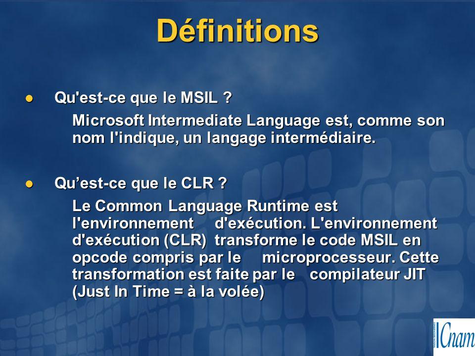 Définitions Qu'est-ce que le MSIL ? Qu'est-ce que le MSIL ? Microsoft Intermediate Language est, comme son nom l'indique, un langage intermédiaire. Qu
