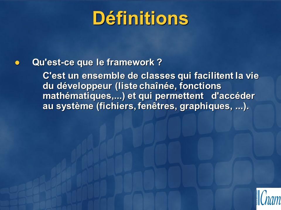 Définitions Qu'est-ce que le framework ? Qu'est-ce que le framework ? C'est un ensemble de classes qui facilitent la vie du développeur (liste chaînée