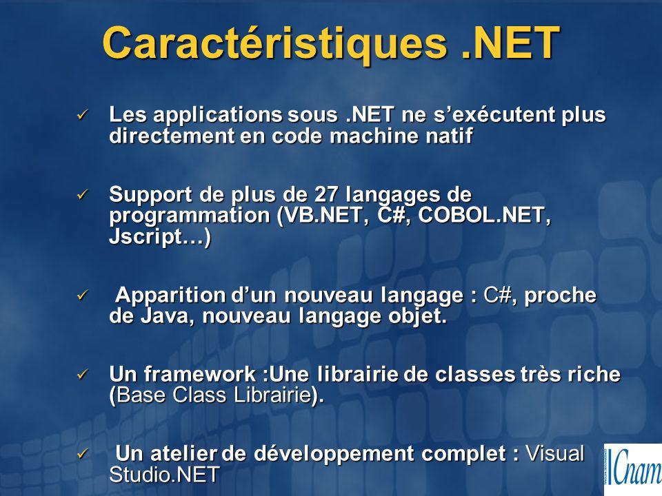 Caractéristiques.NET Les applications sous.NET ne s'exécutent plus directement en code machine natif Les applications sous.NET ne s'exécutent plus dir
