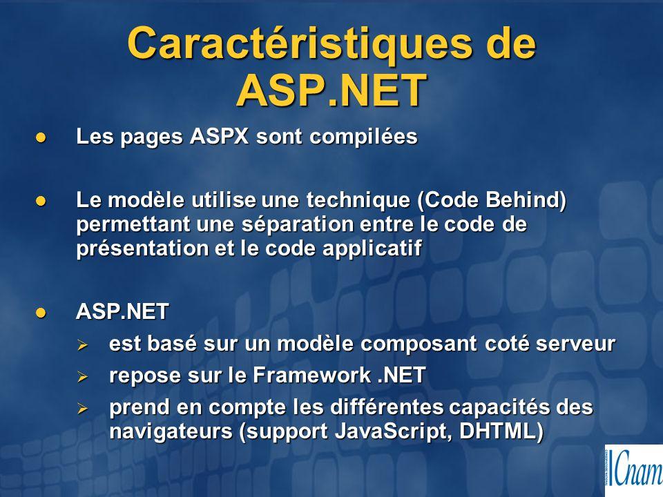 Caractéristiques de ASP.NET Les pages ASPX sont compilées Les pages ASPX sont compilées Le modèle utilise une technique (Code Behind) permettant une s