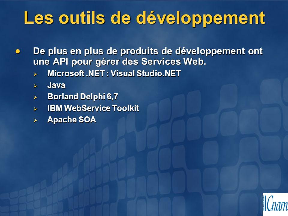 Les outils de développement De plus en plus de produits de développement ont une API pour gérer des Services Web. De plus en plus de produits de dével