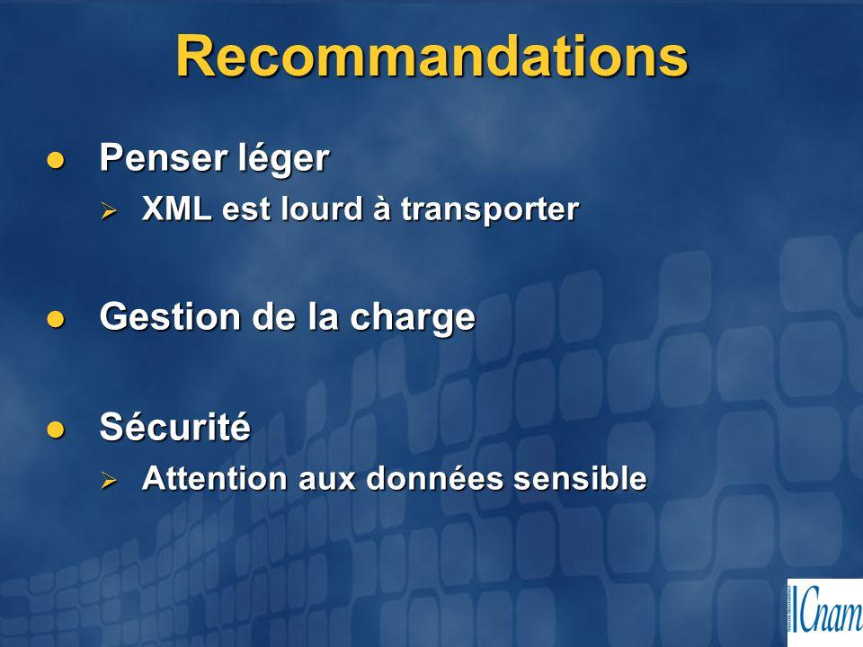 Recommandations Penser léger Penser léger  XML est lourd à transporter Gestion de la charge Gestion de la charge Sécurité Sécurité  Attention aux do