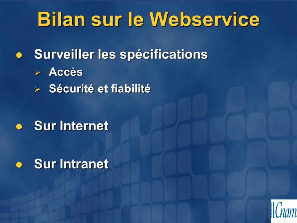 Bilan sur le Webservice Surveiller les spécifications Surveiller les spécifications  Accès  Sécurité et fiabilité Sur Internet Sur Internet Sur Intr