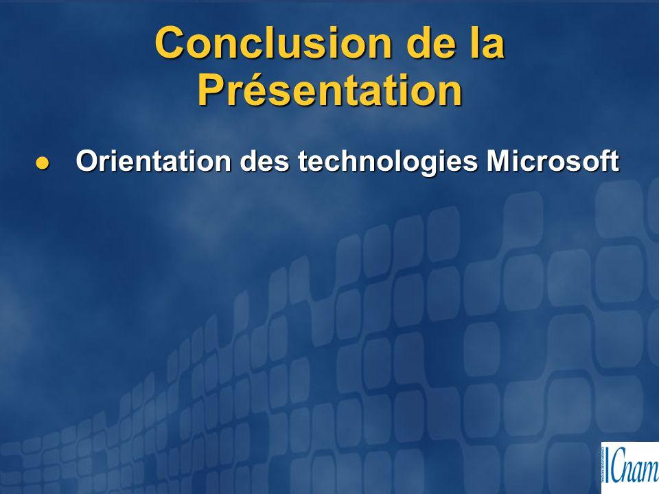 Conclusion de la Présentation Orientation des technologies Microsoft Orientation des technologies Microsoft