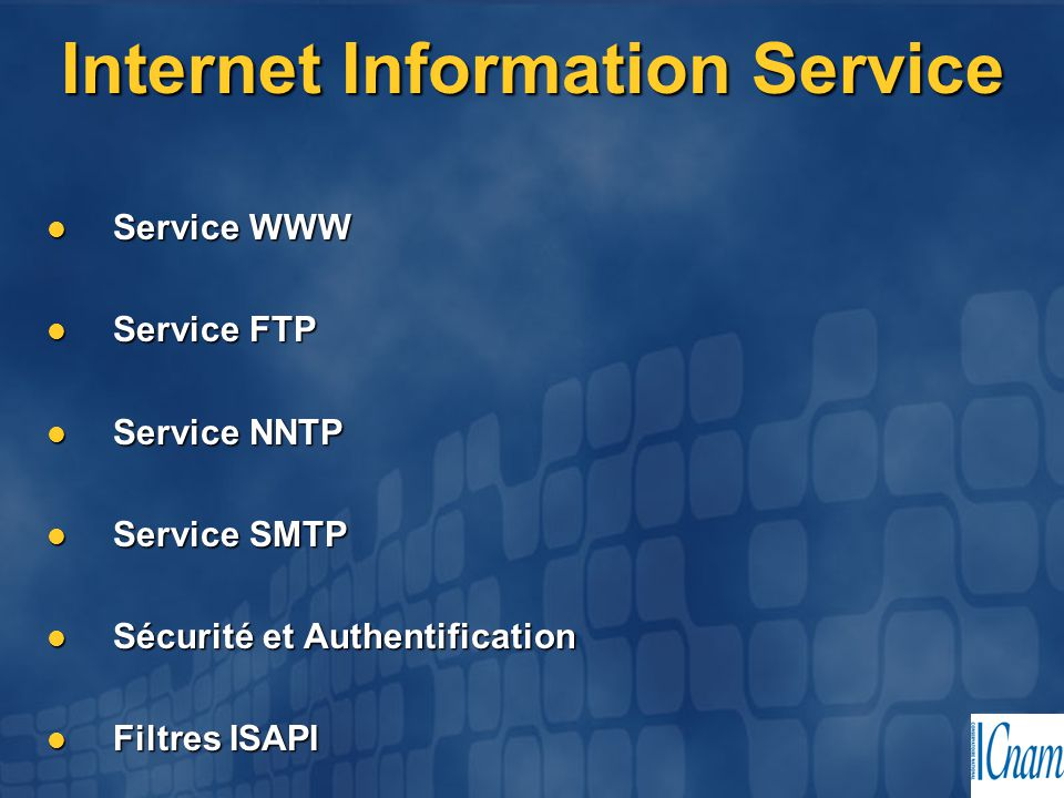 Fonctionnemet ASP (Active Server Pages) repose sur une bibliothèque dynamique ISAPI (asp.dll) ASP (Active Server Pages) repose sur une bibliothèque dynamique ISAPI (asp.dll)  Interprête les scripts Réponse au client en HTTP Réponse au client en HTTP