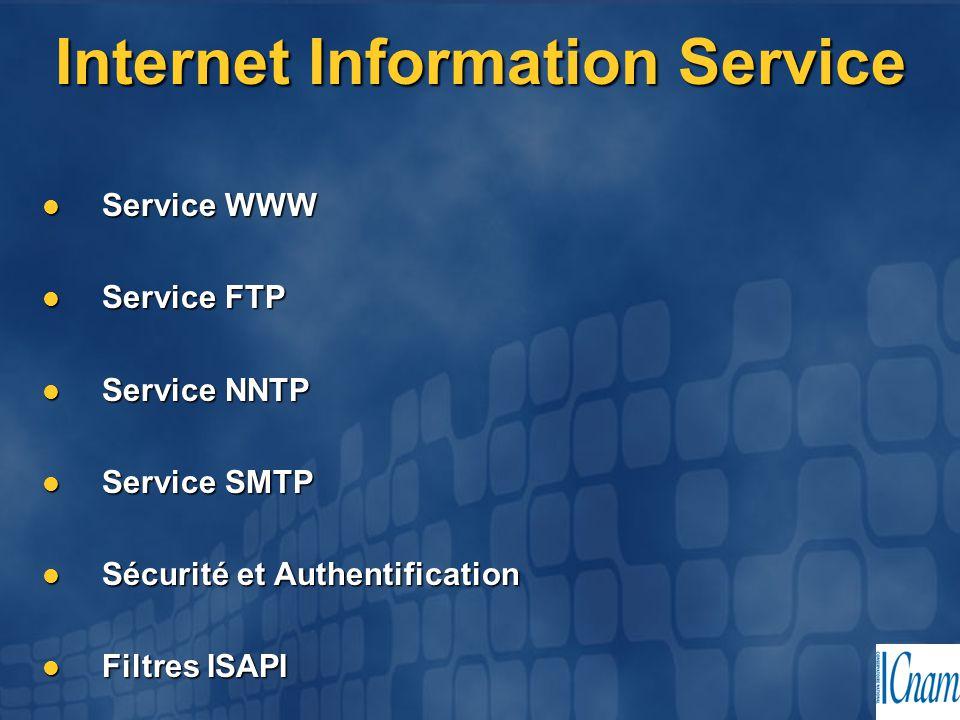 Internet Information Service Service WWW Service WWW Service FTP Service FTP Service NNTP Service NNTP Service SMTP Service SMTP Sécurité et Authentif