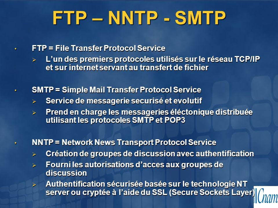 FTP – NNTP - SMTP FTP = File Transfer Protocol Service FTP = File Transfer Protocol Service  L'un des premiers protocoles utilisés sur le réseau TCP/