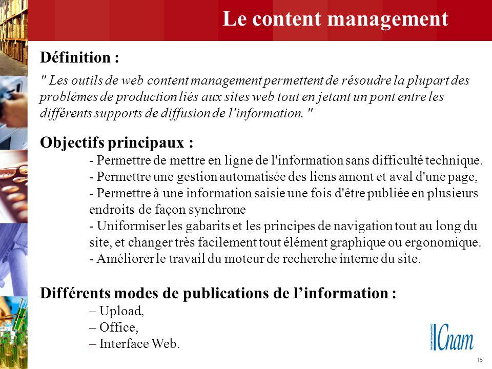 15 Le content management Définition :