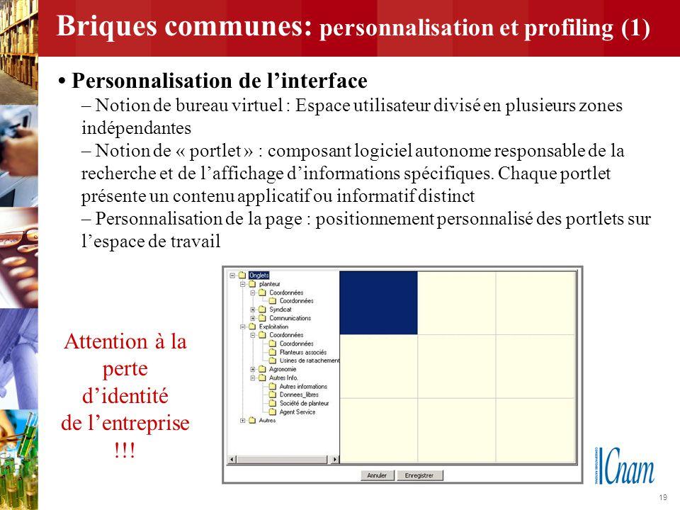 19 Briques communes: personnalisation et profiling (1) Personnalisation de l'interface – Notion de bureau virtuel : Espace utilisateur divisé en plusi
