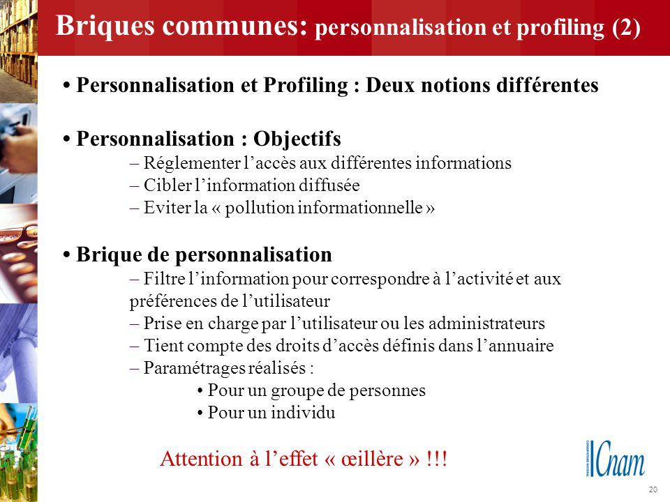 20 Briques communes: personnalisation et profiling (2) Personnalisation et Profiling : Deux notions différentes Personnalisation : Objectifs – Régleme