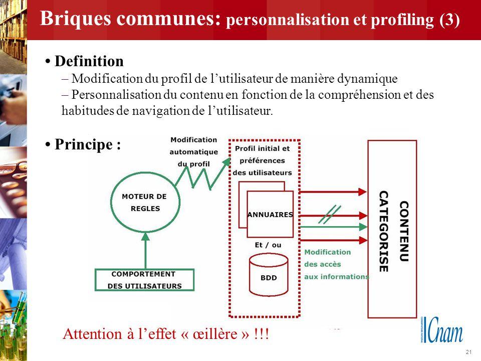 21 Briques communes: personnalisation et profiling (3) Attention à l'effet « œillère » !!! Definition – Modification du profil de l'utilisateur de man