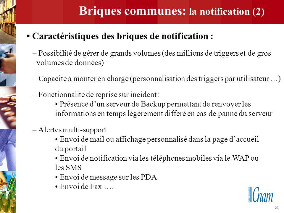 23 Briques communes: la notification (2) Caractéristiques des briques de notification : – Possibilité de gérer de grands volumes (des millions de trig