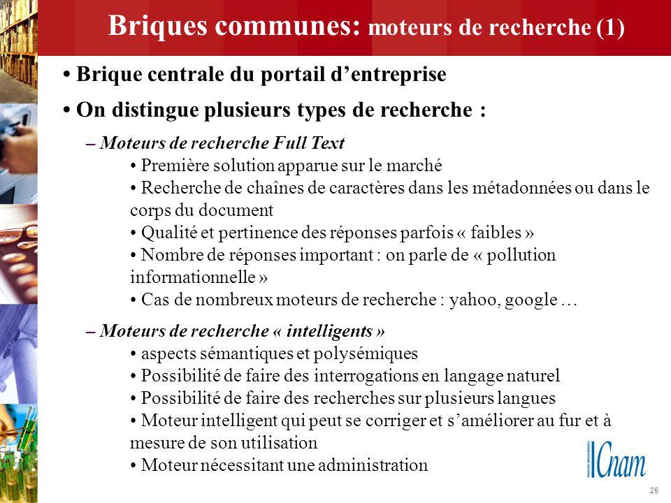 25 Briques communes: moteurs de recherche (1) Brique centrale du portail d'entreprise On distingue plusieurs types de recherche : – Moteurs de recherc