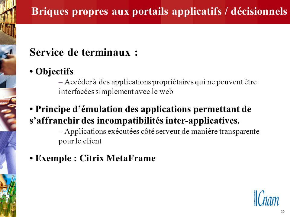 30 Briques propres aux portails applicatifs / décisionnels Service de terminaux : Objectifs – Accéder à des applications propriétaires qui ne peuvent