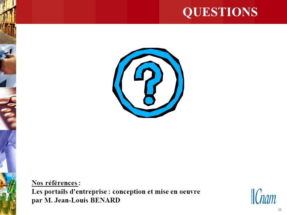 36 QUESTIONS Nos références : Les portails d'entreprise : conception et mise en oeuvre par M. Jean-Louis BENARD