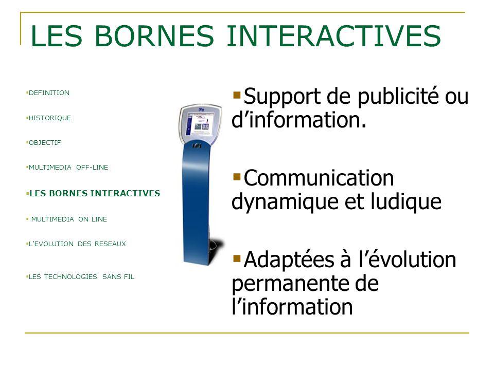  Support de publicité ou d'information.  Communication dynamique et ludique  Adaptées à l'évolution permanente de l'information LES BORNES INTERACT