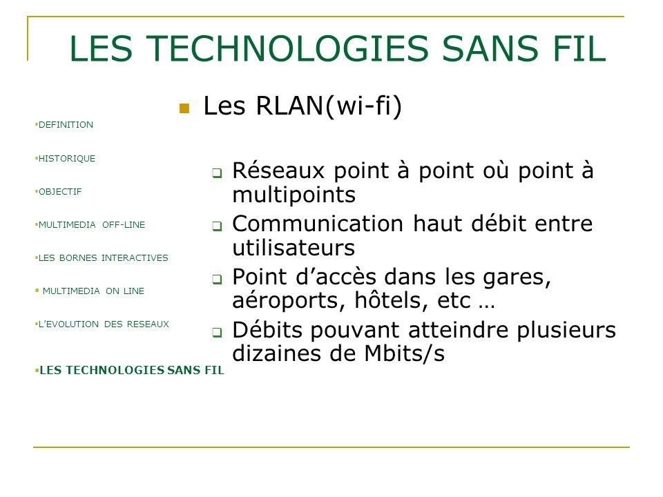 LES TECHNOLOGIES SANS FIL Les RLAN(wi-fi)  Réseaux point à point où point à multipoints  Communication haut débit entre utilisateurs  Point d'accès