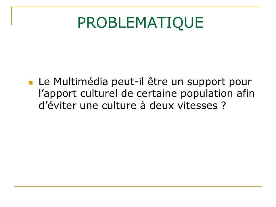 PROBLEMATIQUE Le Multimédia peut-il être un support pour l'apport culturel de certaine population afin d'éviter une culture à deux vitesses ?