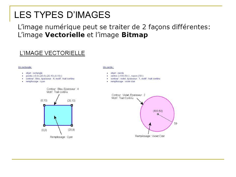 LES TYPES D'IMAGES L'image numérique peut se traiter de 2 façons différentes: L'image Vectorielle et l'image Bitmap L'IMAGE VECTORIELLE