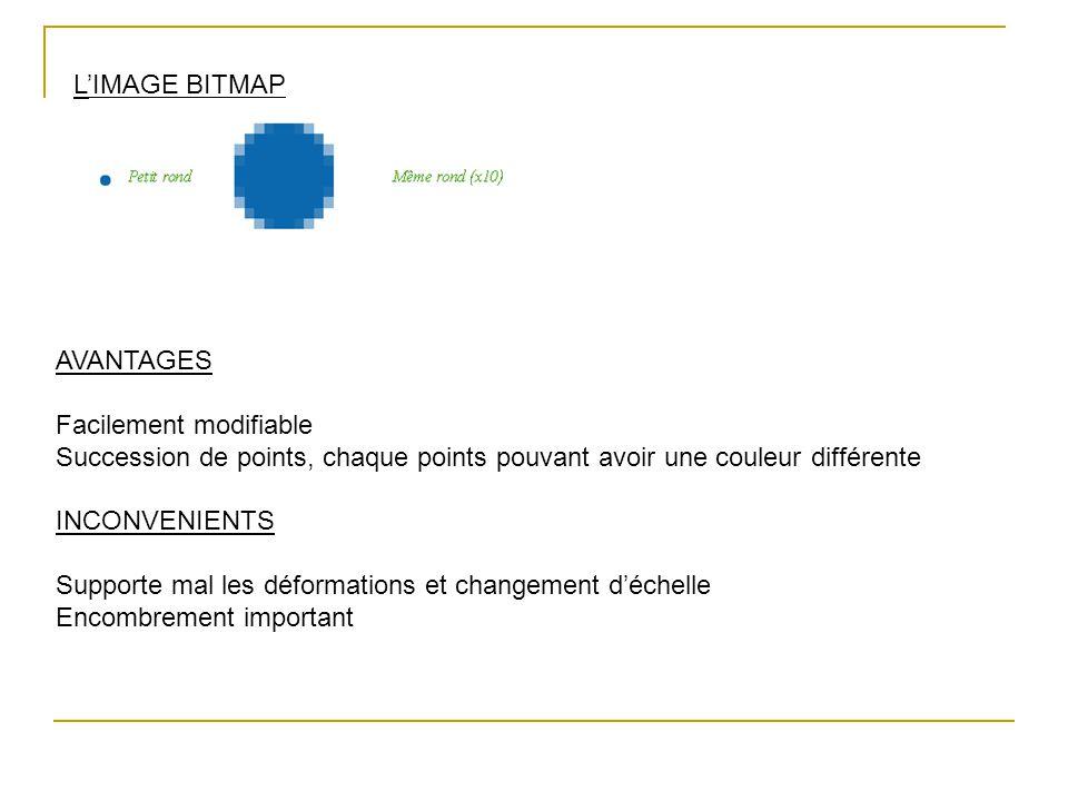 L'IMAGE BITMAP AVANTAGES Facilement modifiable Succession de points, chaque points pouvant avoir une couleur différente INCONVENIENTS Supporte mal les