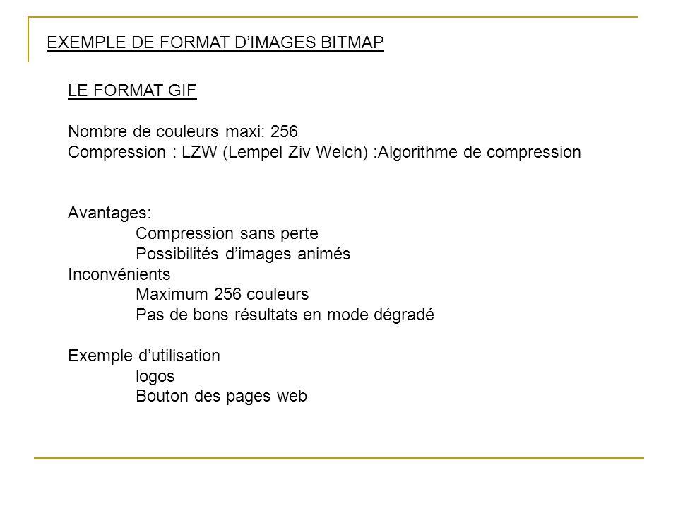 EXEMPLE DE FORMAT D'IMAGES BITMAP LE FORMAT GIF Nombre de couleurs maxi: 256 Compression : LZW (Lempel Ziv Welch) :Algorithme de compression Avantages