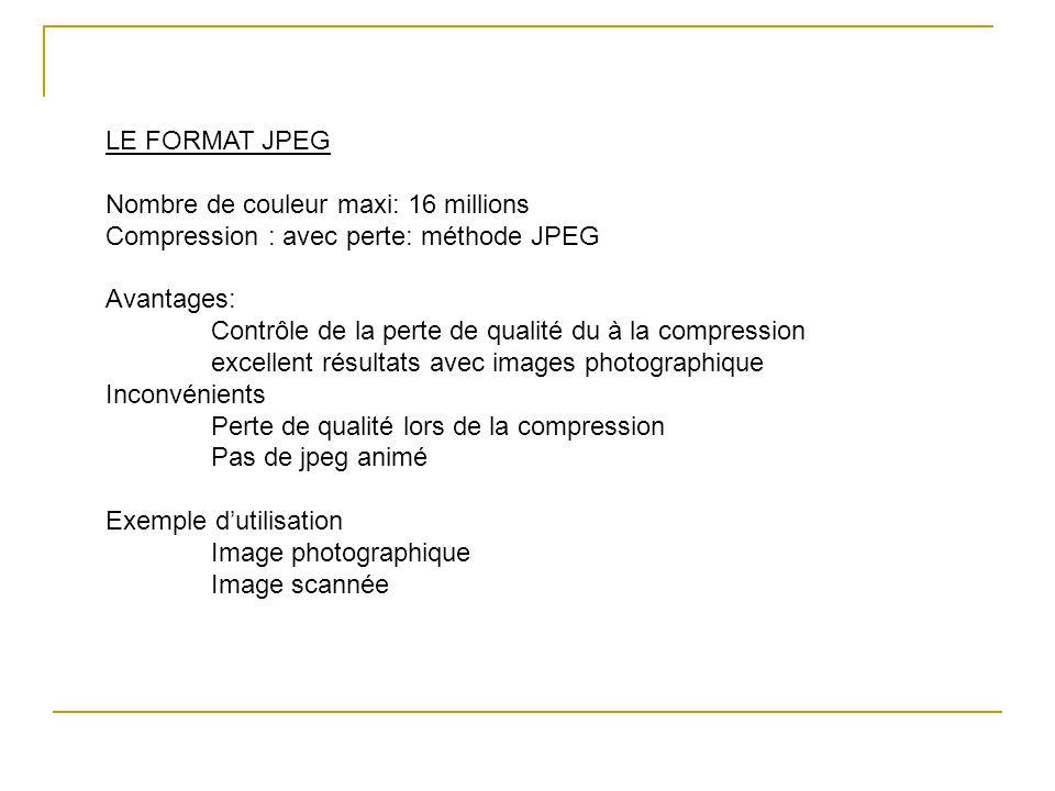 LE FORMAT JPEG Nombre de couleur maxi: 16 millions Compression : avec perte: méthode JPEG Avantages: Contrôle de la perte de qualité du à la compressi